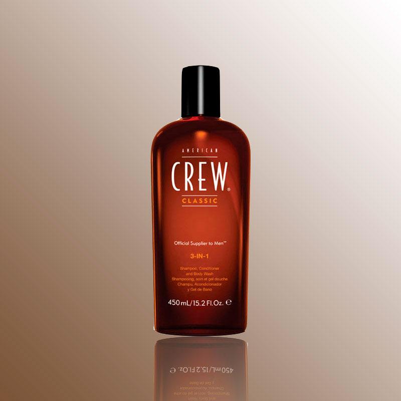 American Crew Средство 3 в 1 Шампунь, Кондиционер и Гель для душа Classic 3-in-1 Shampoo, Conditioner and Body Wash 450 мл7204481000Удобное средство, объединяющее шампунь, кондиционер и гель для тела. Он сочетает в себе универсальность, полезные ингредиенты и классический аромат American Crew. С его помощью можно избавиться от излишков жира и грязи как на голове, так и на теле. Нежно очищая, он тонизирует кожу головы, увлажняет волосы. Волосы меньше путаются.