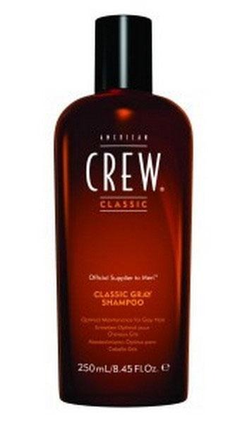 American Crew Шампунь для седых волос Classic Gray Shampoo 250 мл4752Это специально созданный шампунь для волос, посеребренных сединой. Обладая специальными добавками, нейтрализующими желтоватый оттенок седых волос, данный шампунь является ведущим средством по уходу за седыми волосами. Оздоровляющий шампунь от American Crew обладает сбалансированными свойствами, позволяющими удалять медно-желтые тона седых или седеющих волос. Также средство помогает предотвратить желтизну на мелированных или окрашенных в белый цвет волосах. А гидролизованный молочный протеин добавляет блеск и создает превосходную защиту от сухости, свойственную седым волосам.