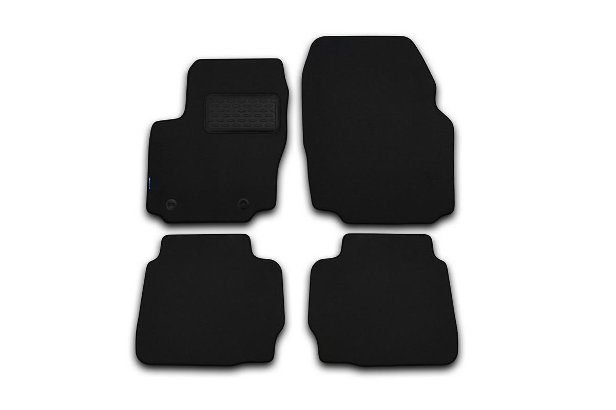 Набор автомобильных ковриков Klever для Hyundai Solaris 2011-, хэтчбек/седан, в салон, 4 шт. KVR02204501210khFS-80264Набор автомобильных ковриков Klever, изготовленный из текстиля, состоит из 4 ковриков, которые учитывают все особенности каждой модели автомобиля и полностью повторяют контуры пола. Текстильные автомобильные коврики для салона произведены из высококачественного материала, который держит форму, прочный и не пачкает обувь. Коврики в салон не только улучшат внешний вид салона вашего автомобиля, но и надежно уберегут его от пыли, грязи и сырости, а значит, защитят кузов от коррозии. Текстильные коврики для автомобиля мягкие и приятные, а их основа из вспененного полиуретана не пропускает влагу. Ковры для автомобилей надежно крепятся на полу и не скользят, что очень важно во время движения. Чистятся коврики очень просто: как при помощи автомобильного пылесоса, так и различными моющими средствами. Набор подходит для Hyundai Solaris хэтчбек/седан с 2011 года выпуска.