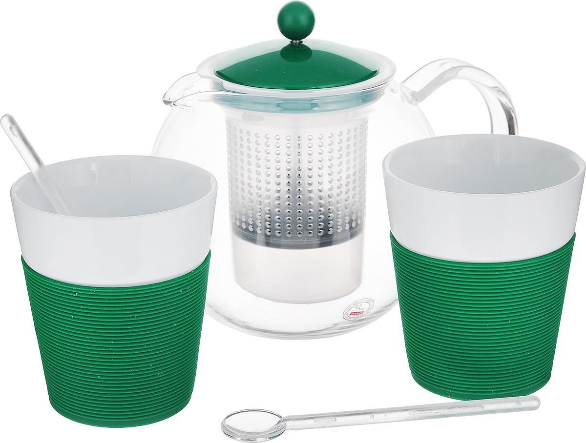 Набор чайный Bodum Assam, цвет: прозрачный, белый, зеленый, 5 предметов. AK1830-825-Y15115510Чайный набор Bodum Assam состоит из двух стаканов, двух ложек и чайника, выполненных из высококачественного стекла, фарфора и пластика. Элегантный дизайн набора придется по вкусу и ценителям классики, и тем, кто предпочитает утонченность и изысканность. Он настроит на позитивный лад и подарит хорошее настроение с самого утра.Чайный набор Bodum Assam идеально подойдет для сервировки стола и станет отличным подарком к любому празднику.Объем стакана: 300 мл. Диаметр стакана (по верхнему краю): 8,7 см. Высота стакана: 10,2 см. Объем чайника: 1 л.Диаметр чайника (по верхнему краю): 9,5 см. Высота чайника (без учета крышки): 12,5 см.Длина ложки: 14 см.