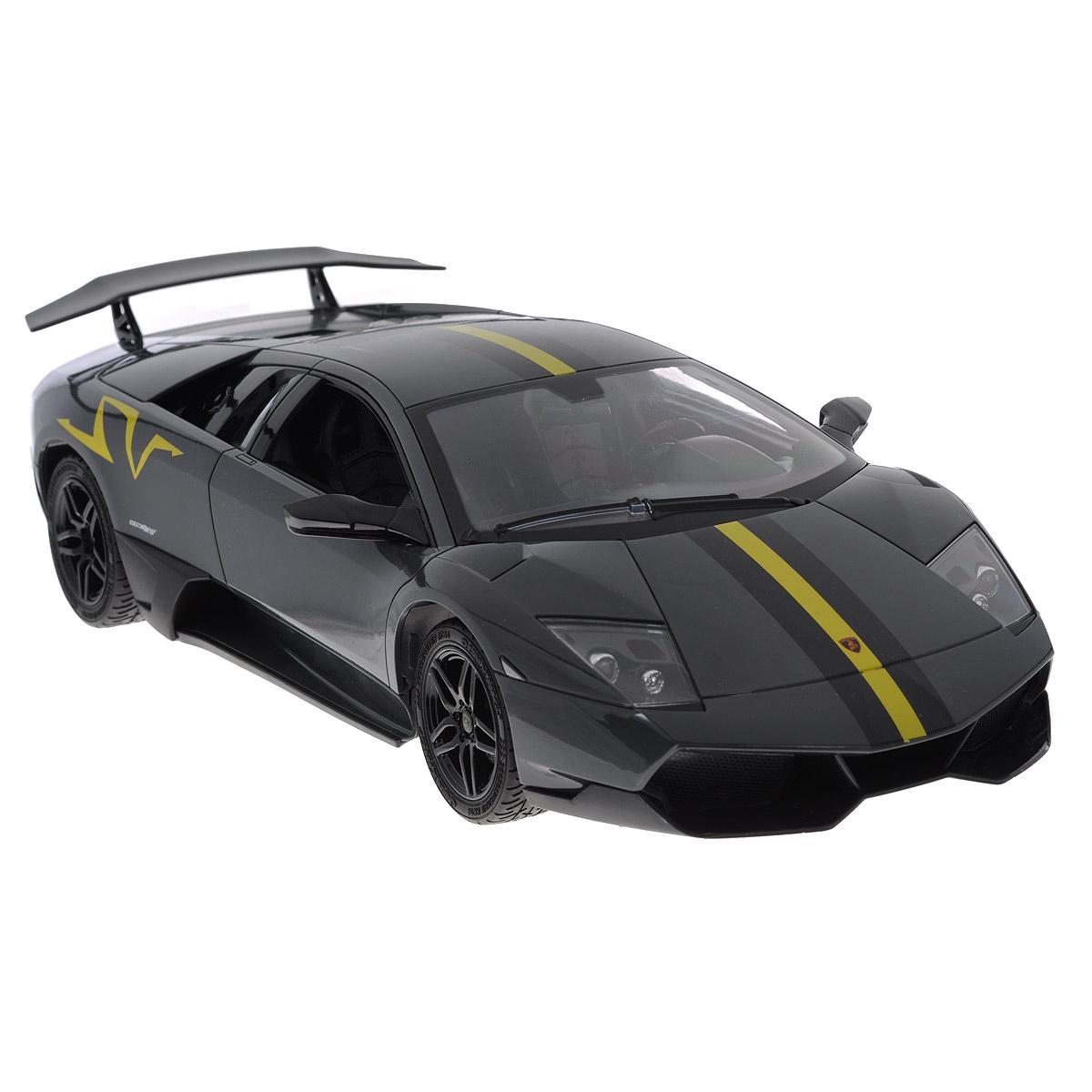 """Радиоуправляемая модель TopGear """"Lamborghini Murcielago LP 670-4"""" привлечет внимание не только ребенка, но и взрослого и станет отличным подарком любителю гонок. Машинка является точной уменьшенной копией автомобиля в масштабе 1:14. Машинка изготовлена из прочного легкого пластика, шины выполнены из мягкой резины. Фары машины светятся. Машинка при помощи пульта управления может перемещаться вперед, дает задний ход, поворачивает влево и вправо, останавливается. В комплект входит машинка, пульт управления, блок питания, аккумулятор и 2 батарейки типа AA 1,5V Ваш ребенок часами будет играть с моделью, придумывая различные истории и устраивая соревнования. Порадуйте его таким замечательным подарком! УВАЖАЕМЫЕ КЛИЕНТЫ! Обращаем ваше внимание на тот факт, что для работы игрушки рекомендуется докупить 2 батарейки типа АА 1,5V для пульта управления (в комплект входят демонстрационные)."""
