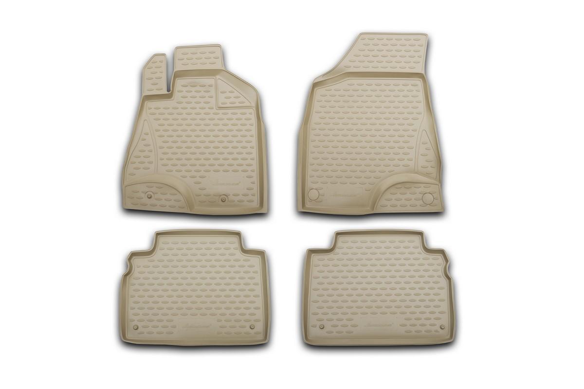 Набор автомобильных ковриков Novline-Autofamily для Hyundai Santa Fe 05/2010-, в салон, цвет: бежевый, 4 штCARLD00001kНабор автомобильных ковриков Novline-Autofamily, изготовленный из полиуретана, состоит из 4 ковриков, которые учитывают все особенности каждой модели автомобиля и полностью повторяют контуры пола. Полиуретановые автомобильные коврики для салона произведены из высококачественного материала, который держит форму, прочный и не пачкает обувь. Коврики в салон не только улучшат внешний вид салона вашего автомобиля, но и надежно уберегут его от пыли, грязи и сырости, а значит, защитят кузов от коррозии. Полиуретановые коврики для автомобиля гладкие, приятные и не пропускают влагу. Ковры для автомобилей надежно крепятся на полу и не скользят, что очень важно во время движения. Чистятся коврики очень просто: как при помощи автомобильного пылесоса, так и различными моющими средствами. Набор подходит для Hyundai Santa Fe с мая 2010 года выпуска.