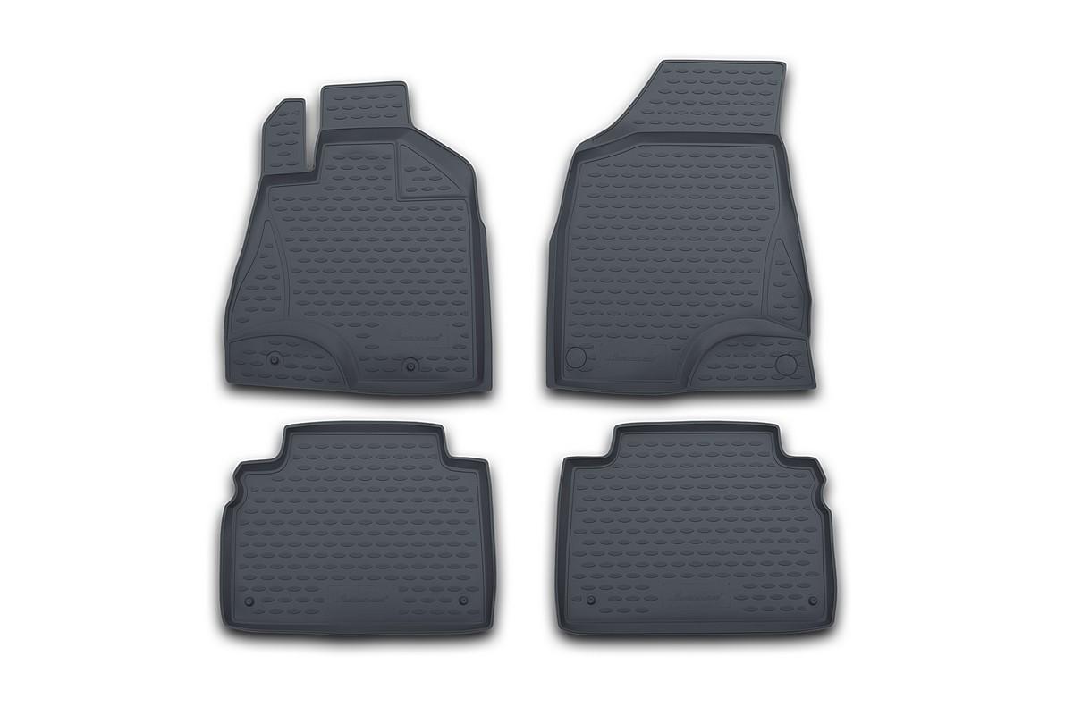 Набор автомобильных ковриков Novline-Autofamily для Lexus RX350 2003-2009, в салон, цвет: серый, 4 штАксион Т-33Набор автомобильных ковриков Novline-Autofamily, изготовленный из полиуретана, состоит из 4 ковриков, которые учитывают все особенности каждой модели автомобиля и полностью повторяют контуры пола. Полиуретановые автомобильные коврики для салона произведены из высококачественного материала, который держит форму, прочный и не пачкает обувь. Коврики в салон не только улучшат внешний вид салона вашего автомобиля, но и надежно уберегут его от пыли, грязи и сырости, а значит, защитят кузов от коррозии. Полиуретановые коврики для автомобиля гладкие, приятные и не пропускают влагу. Ковры для автомобилей надежно крепятся на полу и не скользят, что очень важно во время движения. Чистятся коврики очень просто: как при помощи автомобильного пылесоса, так и различными моющими средствами. Набор подходит для Lexus RX350 2003-2009 годов выпуска.