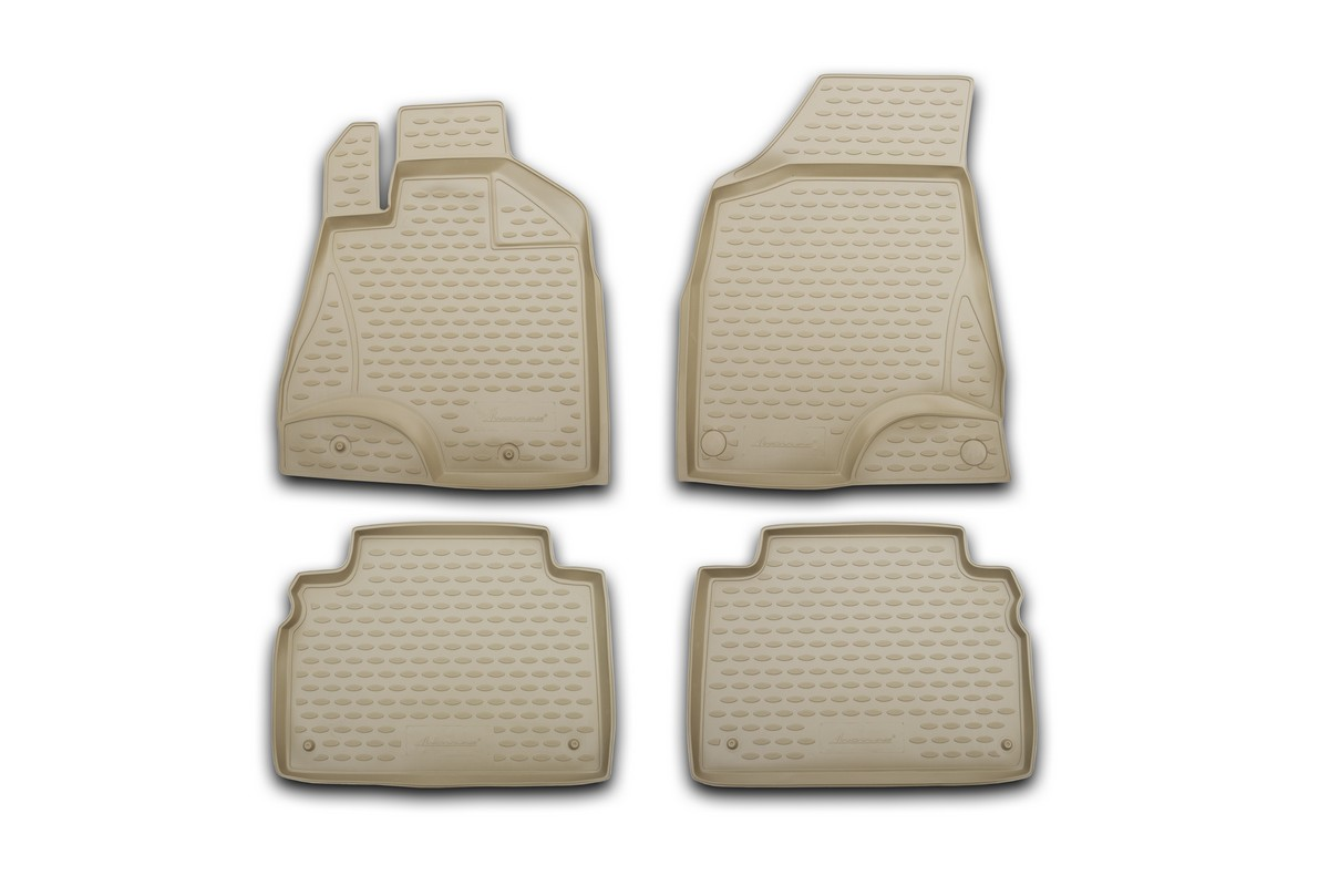 Набор автомобильных ковриков Novline-Autofamily для Nissan Teana II 2008-2014, в салон, цвет: бежевый, 4 штNLC.63.04.210Набор автомобильных ковриков Novline-Autofamily, изготовленный из полиуретана, состоит из 4 ковриков, которые учитывают все особенности каждой модели автомобиля и полностью повторяют контуры пола. Полиуретановые автомобильные коврики для салона произведены из высококачественного материала, который держит форму, прочный и не пачкает обувь. Коврики в салон не только улучшат внешний вид салона вашего автомобиля, но и надежно уберегут его от пыли, грязи и сырости, а значит, защитят кузов от коррозии. Полиуретановые коврики для автомобиля гладкие, приятные и не пропускают влагу. Ковры для автомобилей надежно крепятся на полу и не скользят, что очень важно во время движения. Чистятся коврики очень просто: как при помощи автомобильного пылесоса, так и различными моющими средствами. Набор подходит для Nissan Teana II 2008-2014 годов выпуска.