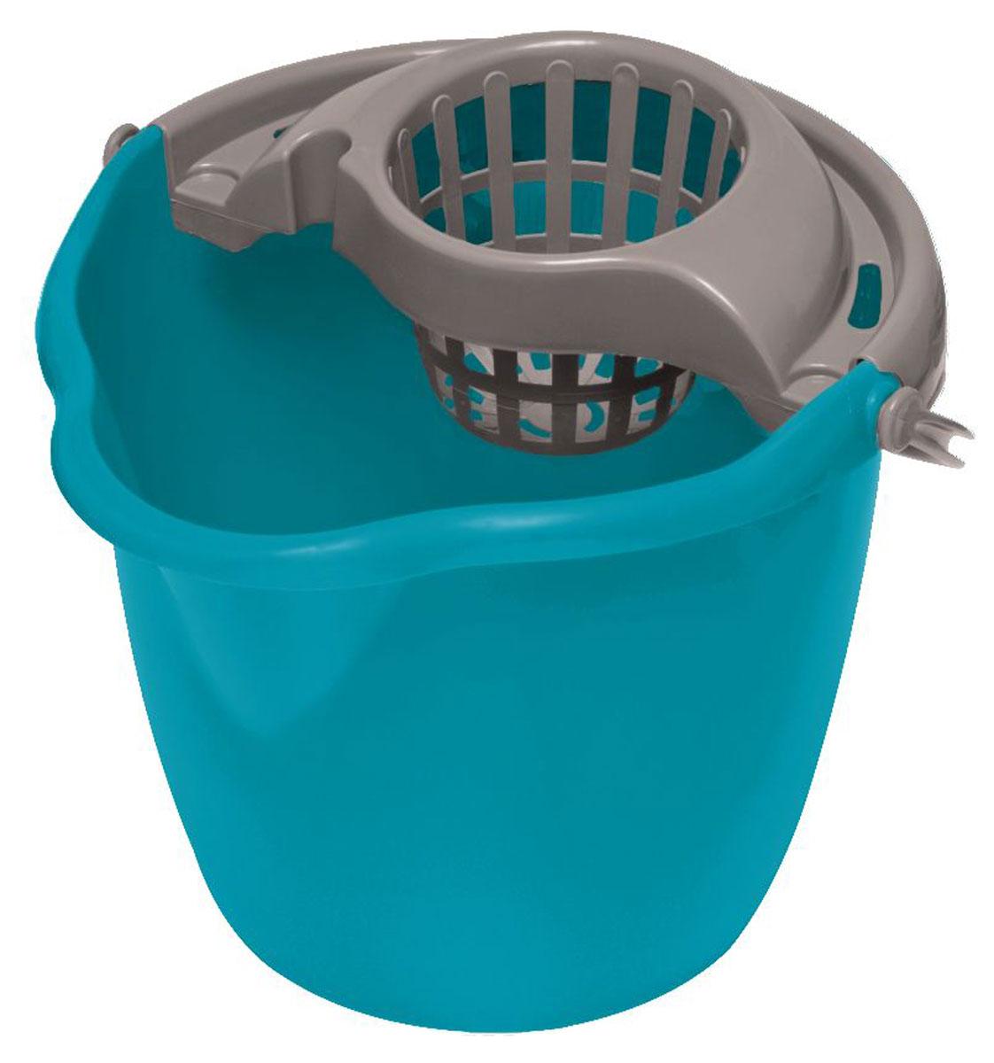 Ведро для уборки York, с насадкой для отжима швабры, цвет: бирюзовый, серый, 12 лBH-UN0502( R)Ведро York, изготовленное из прочного полипропилена, порадует практичных хозяек. Изделие снабжено специальной насадкой, которая обеспечивает интенсивный отжим ленточных швабр. Это значительно уменьшает физические нагрузки при мытье полов. Насадка надежно крепится на ведро и также легко снимается, позволяя хранить ее отдельно. Для удобного использования ведро оснащено эргономичной ручкой.Размер ведра (по верхнему краю): 33 х 30 см.Высота: 27 см.