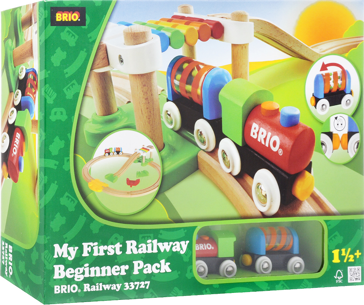 """Железная дорога Brio """"Новичок"""" обязательно привлечет внимание вашего малыша. Набор включает в себя: деревянные рельсы, подвесной мост, съезды с рельсов на пол, рельсы возвышения для заезда на подвесной мост, переезд и паровозик с вагончиком. Поезд может проезжать как под мостом, так и по мосту. Если отпустить поезд с моста, он сможет сразу выехать на переезд. Вагончик выполнен как погремушка, которую можно повращать. Вагончик любой стороной легко присоединяется к паровозику с помощью магнитной сцепки, поэтому собрать железнодорожный состав сможет даже самый маленький ребенок. Из деревянных рельсов железной дороги можно собрать железнодорожное полотно различной конфигурации.Железные дороги позволяют ребенку не только получать удовольствие от игры, но и развивать пространственное воображение, мелкую моторику и координацию движений. Набор совместим со всеми железными дорогами и паровозиками """"Brio""""."""