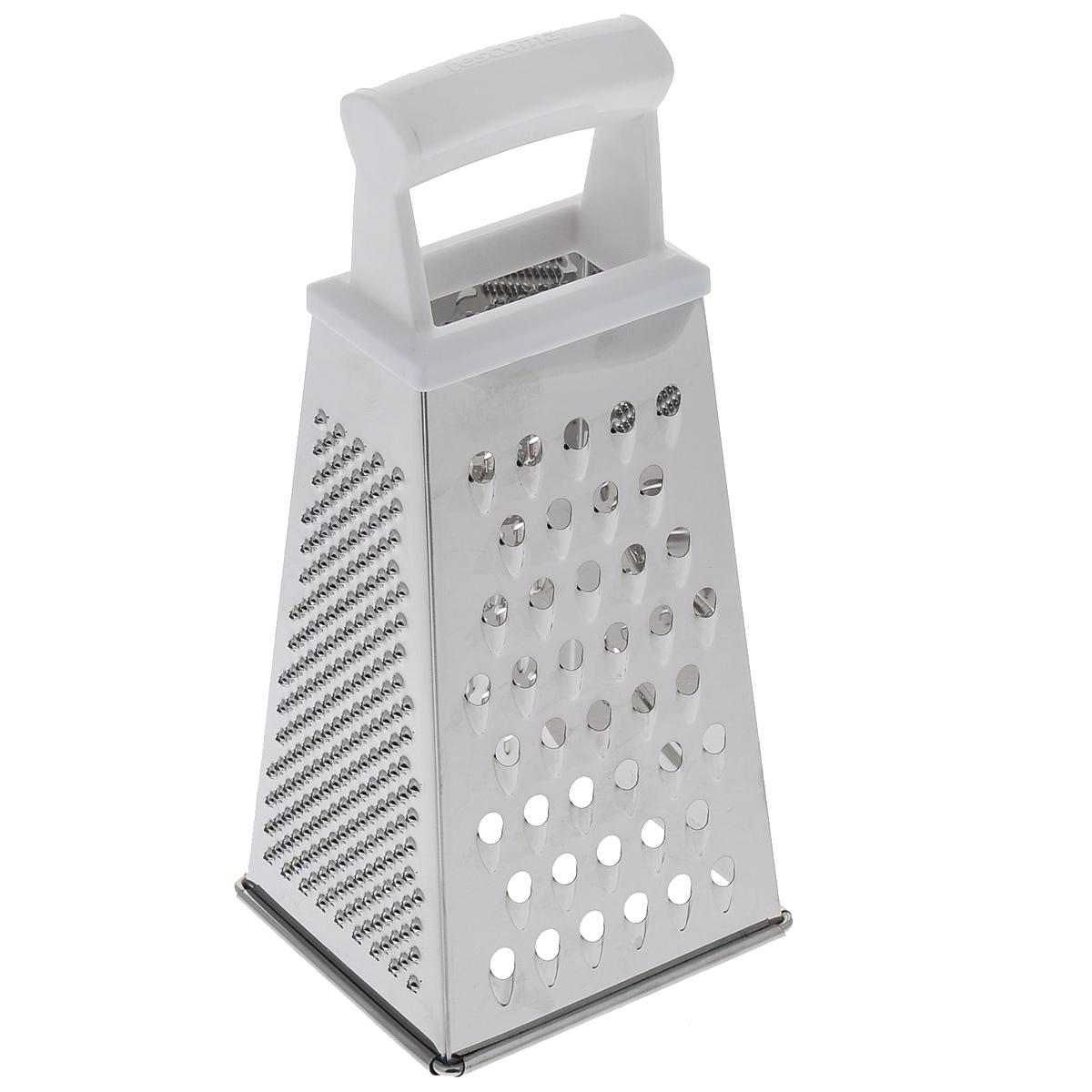 Терка четырехгранная Tescoma Handy, цвет: белый, высота 22 см391602Четырехгранная терка Tescoma Handy, выполненная из высококачественной нержавеющей стали с зеркальной полировкой, станет незаменимым атрибутом приготовления пищи. Сверху на терке находится удобная пластиковая ручка. На одном изделие представлены четыре вида терок - крупная, мелкая, фигурная и нарезка ломтиками. Современный стильный дизайн позволит терке занять достойное место на вашей кухне.Можно мыть в посудомоечной машине.