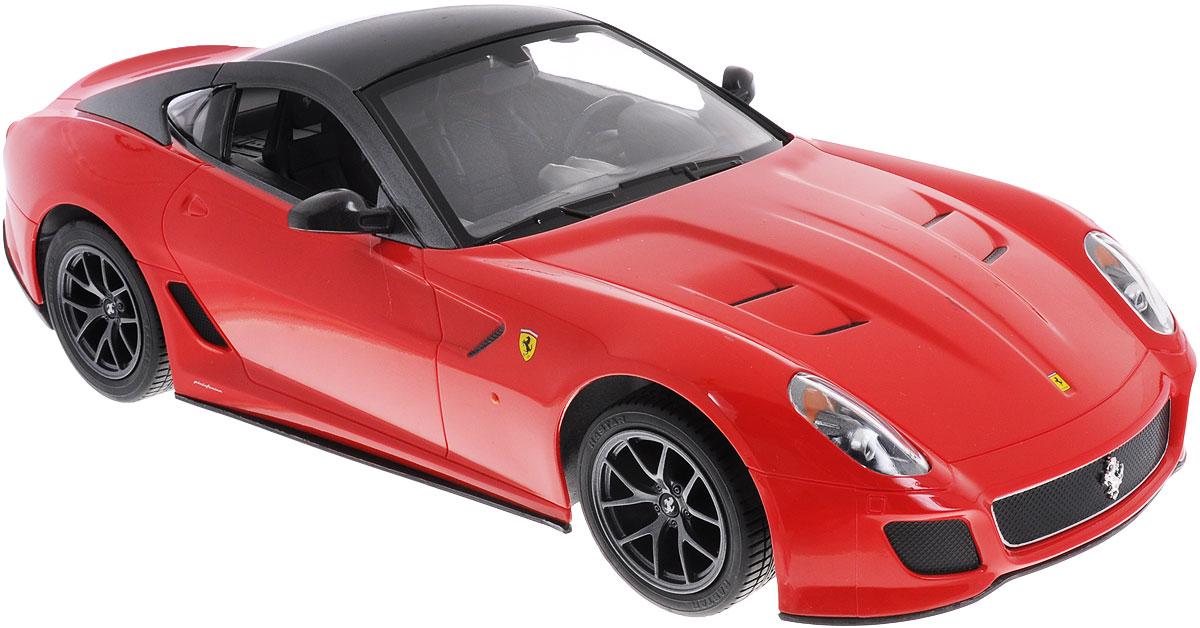 """Радиоуправляемая модель Rastar """"Ferrari 599 GTO"""" станет отличным подарком любому мальчику! Все дети хотят иметь в наборе своих игрушек ослепительные, невероятные и крутые автомобили на радиоуправлении. Тем более, если это автомобиль известной марки с проработкой всех деталей, удивляющий приятным качеством и видом. Одной из таких моделей является автомобиль на радиоуправлении Rastar """"Ferrari 599 GTO"""". Это точная копия настоящего авто в масштабе 1:14. Авто обладает неповторимым провокационным стилем и спортивным характером. Потрясающая маневренность, динамика и покладистость - отличительные качества этой модели. Возможные движения: вперед, назад, вправо, влево, остановка. Имеются световые эффекты. Пульт управления работает на частоте 27 MHz. Для работы игрушки необходимы 5 батареек типа АА (не входят в комплект). Для работы пульта управления необходима 1 батарейка 9V (6F22) (не входит в комплект)."""