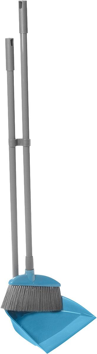 Набор для уборки York, цвет: бирюзовый, серый, 2 предмета. 6302531-105Набор для уборки York состоит из совка и щетки-сметки. Щетка имеет эластичный ворс, который позволяет легко сметать мусор, а благодаря специальному изгибу, мусор легко выметается даже из труднодоступных мест. Совок выполнен из пластика, заостренный край помогает легко захватывать весь мусор. Длинная рукоятка совка обеспечивает комфортную уборку и позволяет меньше нагибаться. Рукоятки изделий выполнены из металла и оснащены отверстиями для подвеса на крючок. В комплекте специальное крепление для компактного хранения. Общая длина щетки: 84 см. Ширина рабочей поверхности щетки: 20 см. Длина ворса: 7 см. Общая длина совка: 77 см. Размер рабочей поверхности совка: 24 см х 20,5 см х 5,5 см.