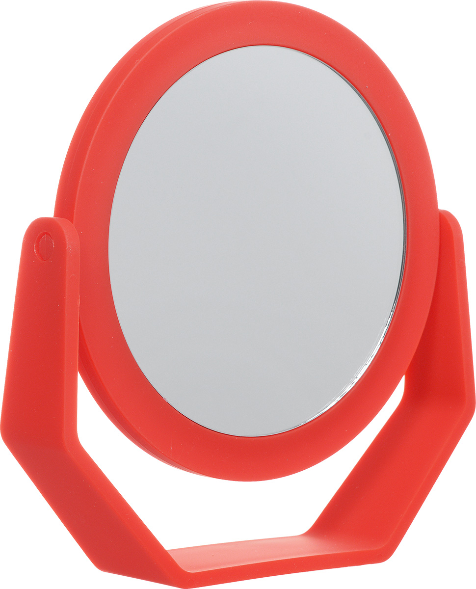 Beiron Зеркало косметическое, настольное, двустороннее, цвет: красный. 530-11311065V15Косметическое зеркало Beiron в пластиковой оправе идеально подходит для утреннего туалета и макияжа, где бы вы ни были. С одной стороны обычное зеркало, с другой - с 2-х кратным увеличением.