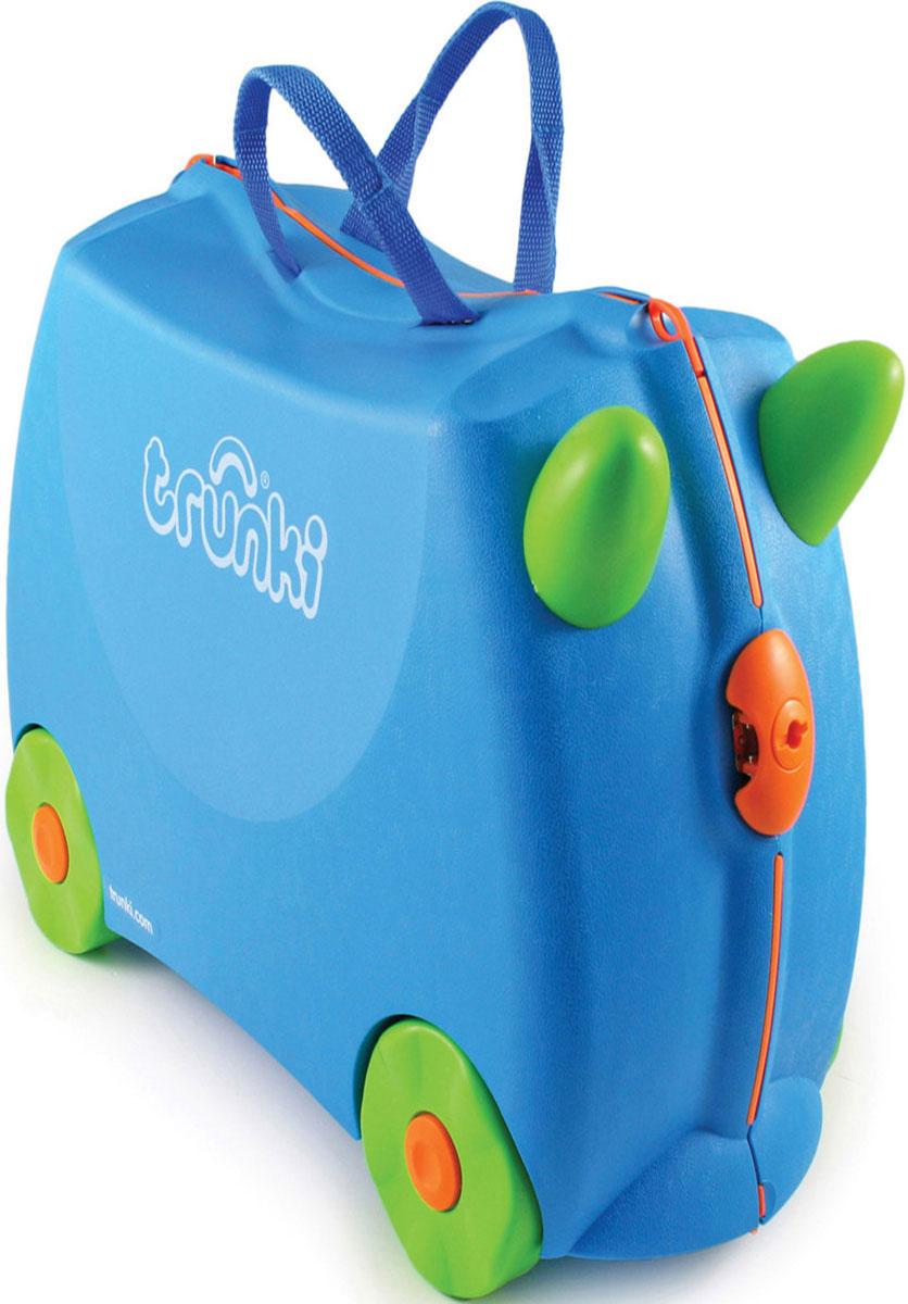 Trunki Чемодан-каталка цвет голубой салатовыйГризлиДетский чемодан-каталка Trunki - оригинальный чемодан на колесах, созданный, чтобы избавить маленьких путешественников от скуки и усталости.Корпус чемодана выполнен в форме седла, чтобы маленькому наезднику было комфортно сидеть. Малыш может держаться за специальные рожки на передней части чемодана. Форма рожек специально разработана для детских ручек. Чемодан имеет 4 колеса и стабилизаторы, которые не позволят чемодану опрокинуться. Для переноски у чемодана предусмотрены 2 текстильные ручки, а также ремень через плечо, который можно использовать для буксировки чемодана. Чемодан содержит вместительное отделение с фиксирующейся Х-образной резинкой. Также в чемодане имеется длинный кармашек для мелочей. Закрывается чемодан на две защелки. Крышка чемодана плотно прилегает к основанию, уплотнитель между ними не позволит мелким предметам выпасть из него.Многофункциональный детский чемодан, с которым можно и поиграть, и отправиться в путешествие. Чемодан-каталка - на все случаи жизни!