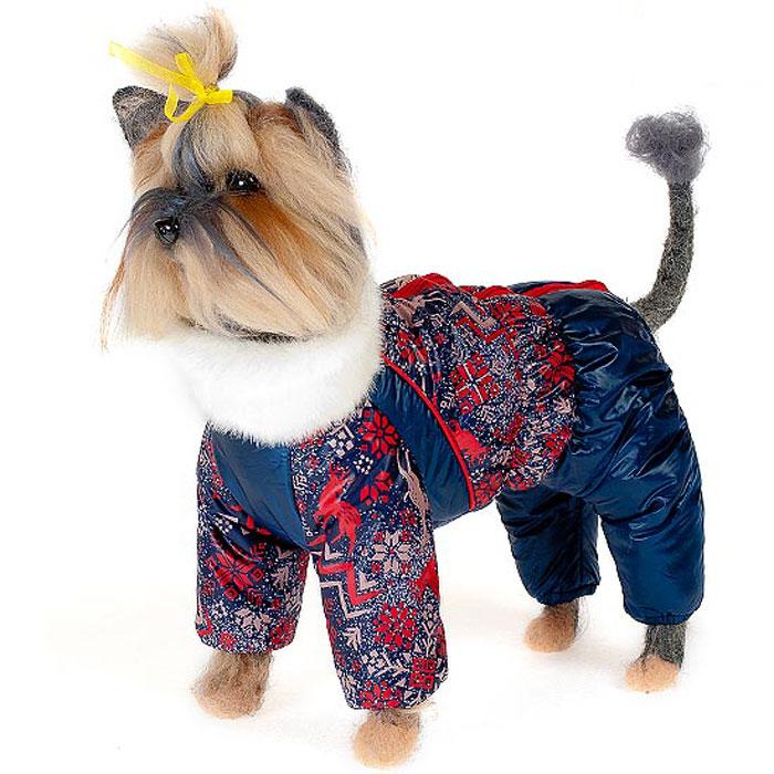 Комбинезон для собак Happy Puppy  Скандинавия , зимний, для мальчика, цвет: темно-синий, красный. Размер 1 (S)
