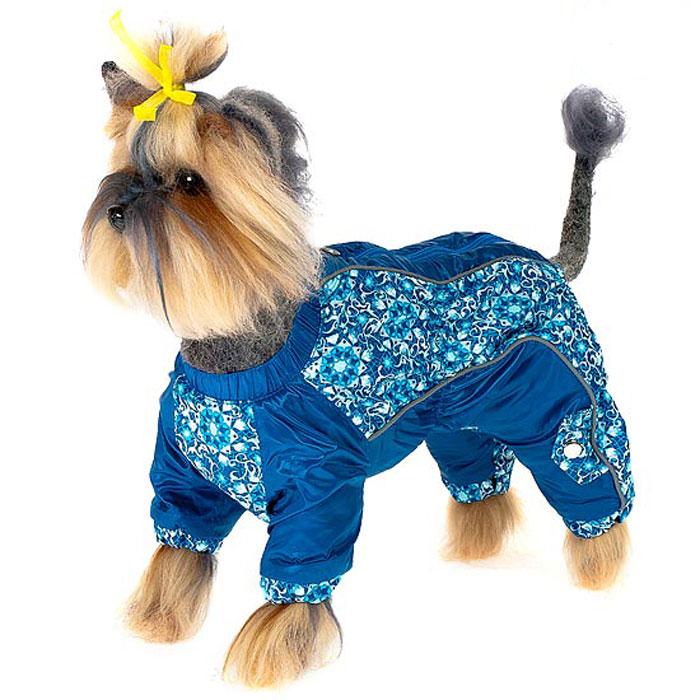 Комбинезон для собак Happy Puppy Арабески, для мальчика, цвет: синий. Размер 3 (L)DM-160254-2Комбинезон для собак Happy Puppy Арабески отлично подойдет для прогулок в прохладную погоду.Комбинезон изготовлен из полиэстера, защищающего от ветра и осадков, а в качестве подкладки используется мягкий искусственный мех, обеспечивающийотличный воздухообмен. Комбинезон застегивается на молнию и липучку, благодаря чему его легко надевать и снимать. Ворот, низ рукавов и брючин оснащены внутренними резинками, которые мягко обхватывают шею и лапки, не позволяя просачиваться холодному воздуху. На пояснице и между рукавами имеются скрытые резинки, которые также не позволяют проникнуть холодному воздуху.Благодаря такому комбинезону простуда не грозит вашему питомцу и он не даст любимцу продрогнуть на прогулке.