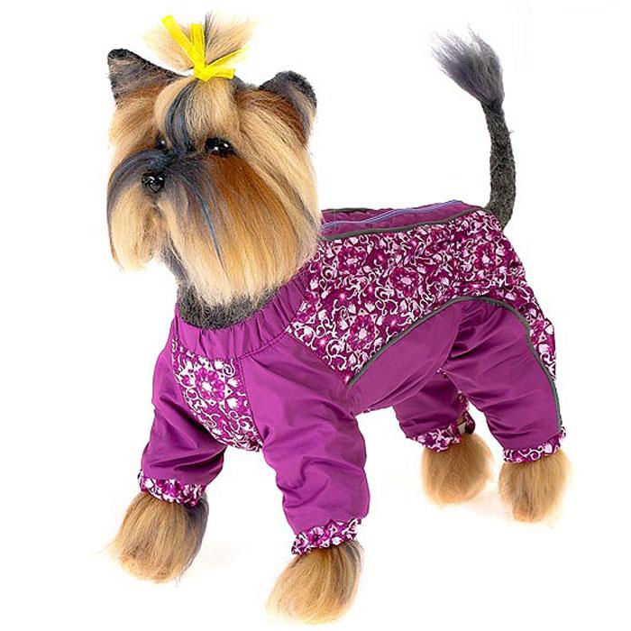Комбинезон для собак Happy Puppy Арабески, для девочки, цвет: фиолетовый. Размер 2 (M)0120710Комбинезон для собак Happy Puppy Арабески отлично подойдет для прогулок в прохладную погоду.Комбинезон изготовлен из полиэстера, защищающего от ветра и осадков, с подкладкой из флиса, которая сохранит тепло и обеспечит отличный воздухообмен. Комбинезон застегивается на молнию и липучку, благодаря чему его легко надевать и снимать. Ворот, низ рукавов и брючин оснащены внутренними резинками, которые мягко обхватывают шею и лапки, не позволяя просачиваться холодному воздуху. На пояснице и между рукавами имеются скрытые резинки, которые также не позволяют проникнуть холодному воздуху.Благодаря такому комбинезону простуда не грозит вашему питомцу и он не даст любимцу продрогнуть на прогулке.