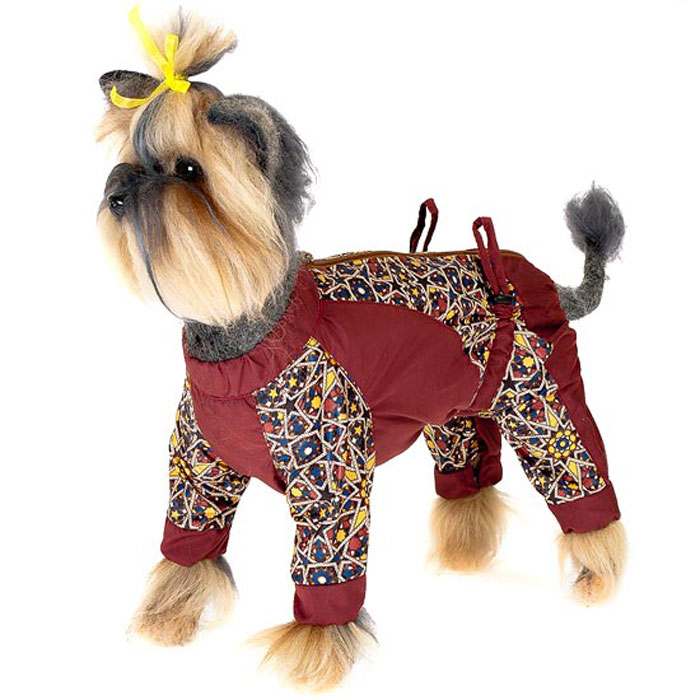 Комбинезон для собак Happy Puppy  Звездочка , для мальчика, цвет: коричнево-красный. Размер 4 (XL)