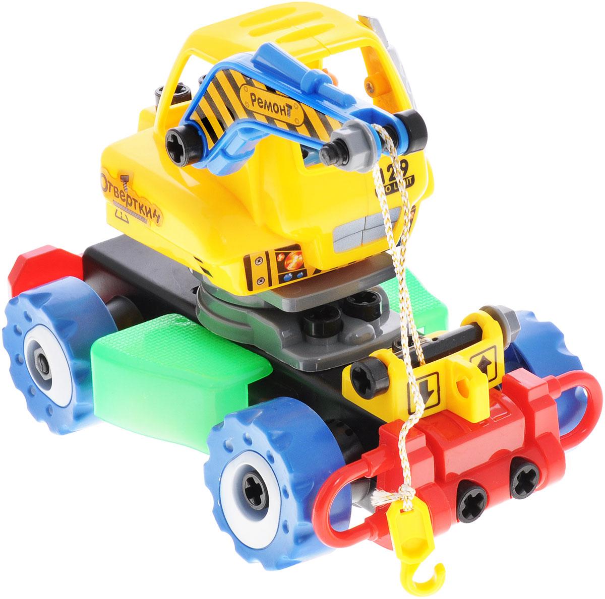 """Машинка-конструктор на радиоуправлении Zhorya """"Отверткин"""" - это детская пластиковая машина-конструктор, которую ребенок самостоятельно сможет собрать, ведь все детали крупные и абсолютно безопасны для детей. В результате сборки получится не просто интересная игрушка, а настоящий автокран на радиоуправлении со световыми и звуковыми эффектами. В комплекте с машиной идет пульт управления, отвертка и фигурка человечка. Для работы игрушки необходимы 4 батарейки типа АА (не входят в комплект). Для работы пульта управления необходимы 2 батарейки типа АА (не входят в комплект)."""