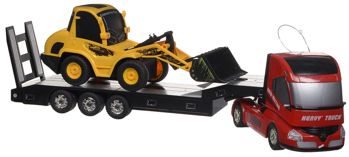 """Игровой набор на радиоуправлении 1TOY """"Профи"""" станет прекрасным подарком для вашего малыша. Набор, выполненный из безопасного прочного пластика, включает в себя грузовик с платформой и бульдозер. Каждая машинка управляется с собственного пульта. Обе машинки движутся вперед, назад, влево и вправо, при этом для каждой доступны собственные функции: с помощью пульта управления грузовиком можно сцеплять и расцеплять платформу, а также поднимать пандус. Второй пульт помимо движения управляет ковшом бульдозера. При движении загорается подсветка автоплатформы, раздается звук работающего двигателя. Игровой набор снабжен подробной инструкцией на русском языке. Радиоуправляемые игрушки развивают моторику ребенка, логику, координацию движений и пространственное мышление. Порадуйте своего малыша таким замечательным подарком! Для работы автоплатформы необходимо докупить 3 батарейки типа ААА (не входят в комплект). Для работы пульта управления автоплатформой необходима 1..."""