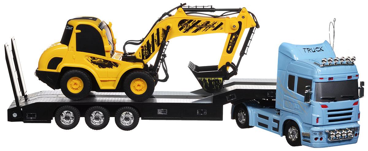 """Игровой набор на радиоуправлении 1TOY """"Профи"""" станет прекрасным подарком для вашего малыша. Набор, выполненный из безопасного прочного пластика, включает в себя грузовик с платформой и экскаватор. Каждая машинка управляется с собственного пульта. Обе машинки движутся вперед, назад, влево и вправо, при этом для каждой доступны собственные функции: с помощью пульта управления грузовиком можно сцеплять и расцеплять платформу, а также поднимать пандус. Второй пульт помимо движения управляет ковшом экскаватора. При движении загорается подсветка автоплатформы, раздается звук работающего двигателя. Игровой набор снабжен подробной инструкцией на русском языке. Радиоуправляемые игрушки развивают моторику ребенка, логику, координацию движений и пространственное мышление. Порадуйте своего малыша таким замечательным подарком! Для работы автоплатформы необходимо докупить 3 батарейки типа ААА (не входят в комплект). Для работы пульта управления автоплатформой необходима 1..."""