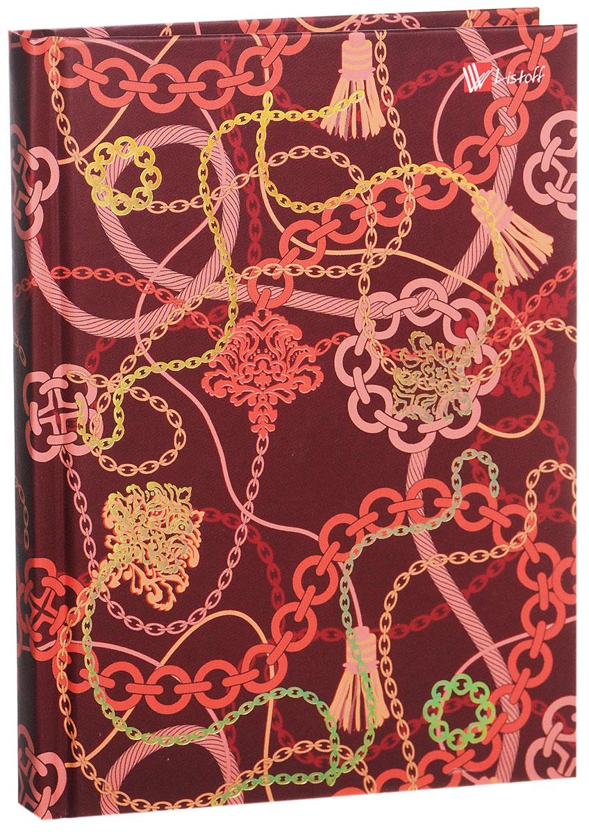 Listoff Записная книжка Фантазия 80 листов в клетку72523WDЗаписная книжка Listoff Фантазия - незаменимый атрибут современного человека, необходимый для рабочих и повседневных записей в офисе и дома. Записная книжка содержит 80 листов формата А6 в клетку. Обложка, выполненная из картона с золотистым тиснением фольгой, украшена причудливым орнаментом. Внутренний блок изготовлен из высококачественной плотной бумаги, что гарантирует чистоту записей и отсутствие клякс. Записная книжка снабжена закладкой-ляссе.На первой странице помещаются личные данные владельца.Книга для записей Listoff Фантазия станет достойным аксессуаром среди ваших канцелярских принадлежностей. Она подойдет как для деловых людей, так и для любителей записывать свои мысли, рисовать скетчи, делать наброски.