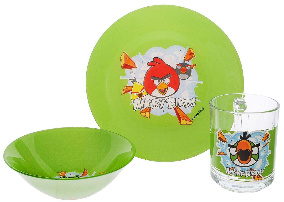 Набор детской посуды Angry Birds, цвет: зеленый, 3 предмета1053059Набор детской посуды Angry Birds, выполненный из прозрачного стекла, состоит из кружки, тарелки и салатника. Изделия оформлены изображением любимых героев популярного мультфильма Angry Birds. Материалы изделий нетоксичены и безопасны для детского здоровья. Детская посуда удобна и увлекательна для вашего малыша. Привычная еда станет более вкусной и приятной, если процесс кормления сопровождать игрой и сказками о любимых героях. Красочная посуда является залогом хорошего настроения и аппетита ваших детей. Можно мыть в посудомоечной машине. Диаметр тарелка: 19,5 см. Диаметр салатника: 14 см. Высота салатника: 4,5 см. Объем кружки: 250 мл. Диаметр кружки (по верхнему краю): 7 см. Высота кружки: 9,5 см.