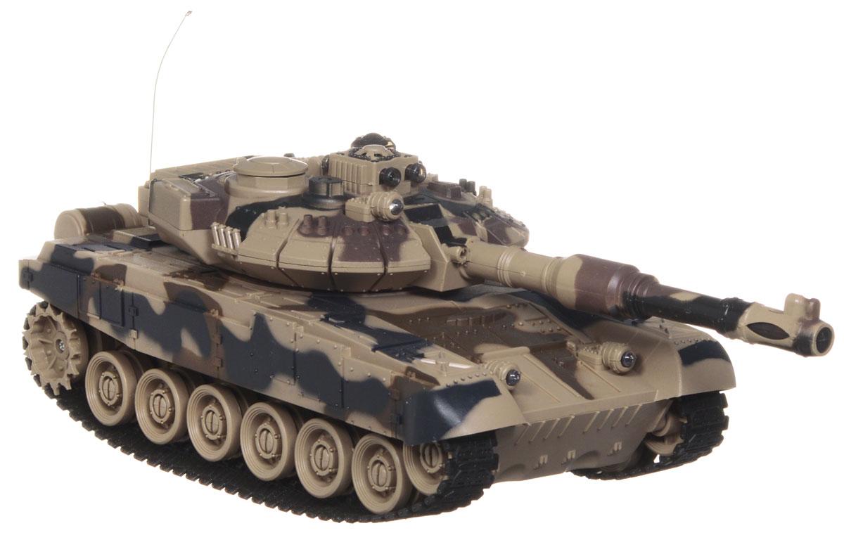 """Радиоуправляемый танк Balbi """"Т-90"""" понравится не только малышам, но и взрослым любителям военной техники. Игрушка, выполненная из безопасного прочного пластика с элементами из металла, досконально воспроизводит легендарную модель советского танка Т-90 в масштабе 1/16. Танк может двигаться вправо, влево, вперед и назад, а также вращаться на месте и преодолевать подъемы под углом 45 градусов. Башня танка может вращаться направо и налево на 280 градусов, а регулируемая пушка опускается и поднимается. На башне танка имеется световой индикатор жизней - вы можете устроить настоящее танковое сражение, при помощи инфракрасного наведения целясь в башню вражеского танка. После попадания на боевой машине гаснет один индикатор жизни. Бой заканчивается, когда на одном из танков гаснут все индикаторы жизни. Танк оснащен звуковыми эффектами: во время сражения раздаются реалистичные звуки выстрелов, звук движущейся машины и шум поворота пушки. Реалистичные световые и звуковые эффекты..."""