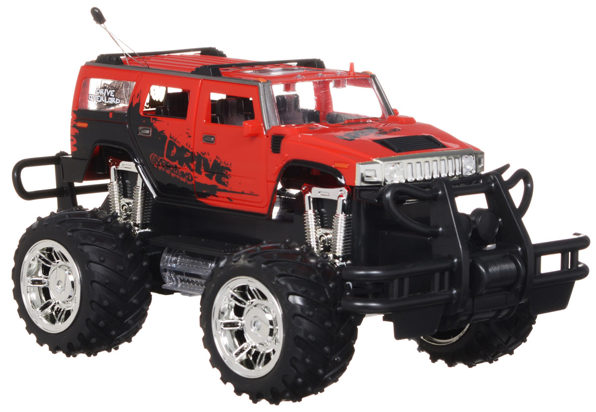 """Машина на радиоуправлении Balbi """"Drive Overlord"""" станет отличным подарком любому мальчишке! Мощный внедорожник на огромных колесах с настоящими пружинными амортизаторами и внушительным пластиковым бампером не оставит равнодушными ни детей, ни взрослых. Модель выполнена из прочного безопасного пластика в масштабе 1/14 к реальному прототипу. Благодаря выдающимся характеристикам ходовой части играть с машиной можно на улице, при этом она будет легко преодолевать значительные препятствия. Машинка движется вперед, назад, вправо, влево и останавливается. Передние дверцы машинки открываются, а фары светятся при движении. Пульт управления работает на частоте 27 MHz Машина работает от сменного аккумулятора (входит в комплект). Для работы пульта управления необходима 1 батарейка 9V типа """"Крона"""" (входит в комплект)."""