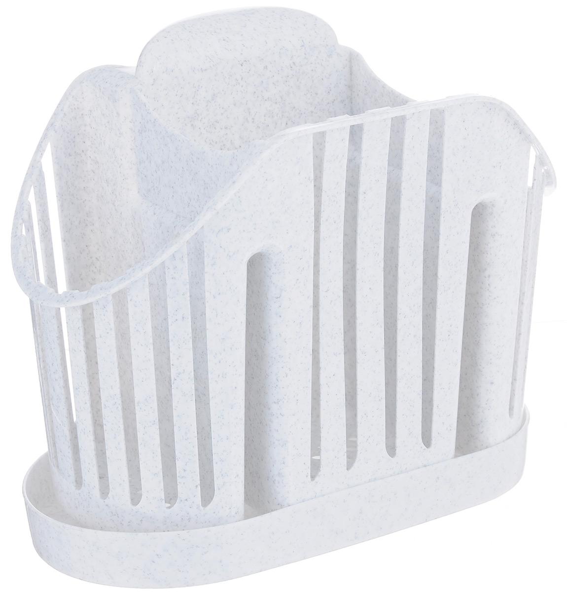 Подставка для столовых приборов Idea, цвет: мраморныйFA-5125 WhiteПодставка для столовых приборов Idea, выполненная из высококачественногополипропилена, станет полезным приобретением для вашей кухни. Изделие оснащено 3 секциями дляразличных столовых приборов. Дно и стенки имеют перфорацию для легкого стока жидкости,которую собирает поддон.Такая подставка поможет аккуратно рассортировать все столовые приборы и тем самымподдерживать порядок на кухне.Размер подставки: 13,5 см х 17,5 см х 11 см.Размер поддона: 18,5 см х 10 см х 2 см.
