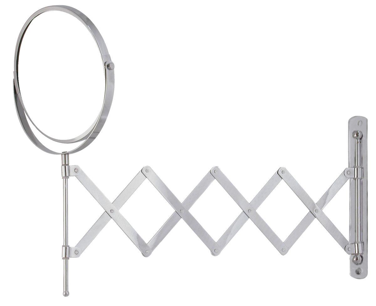 Зеркало косметическое Vanstore, раскладное, диаметр 17 см28032022Двустороннее выдвижное зеркало Vanstore изготовлено из хромированной стали. Выдвигается на 55 см, дизайн крепления выполнен в виде гармошки. Геометрические искажения отсутствуют. Одна сторона имеет увеличение. Крепится на стену с помощью 2 шурупов (входят в комплект).Диаметр зеркала: 17 см.Максимальная длина раскладывания: 55 см.