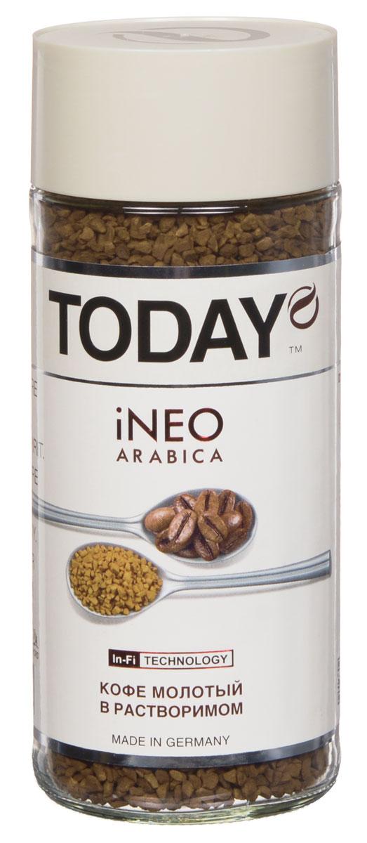 Today Ineo кофе растворимый, 95 г0120710Для создания великолепного кофе Today Ineo использовались лишь отборные зерна средней обжарки. Молотый кофе внутри растворимого дарит аромат и вкус свежесваренного кофе.