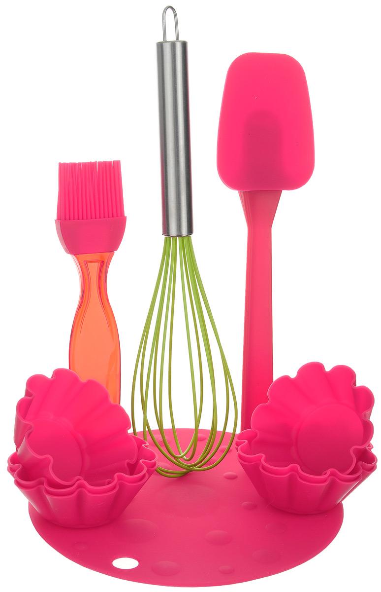 Набор для выпечки Marmiton, цвет: красный, салатовый, 10 предметов11164_красный, салатовыйЕсли вы любите побаловать своих домашних вкусной и ароматной выпечкой по вашему оригинальному рецепту, то набор для выпечки Marmiton как раз то, что вам нужно!Он прекрасно подходитдля приготовления выпечки, шоколада, желирования, замораживания, а также для приготовления птицы, мяса, рыбы, фаршированных овощей и фруктовых десертов. Набор состоит из шести формочек, лопатки, кисти, коврика и венчика. Предметы набора выполнены из силикона. Силикон устойчив к перепадам температуры от -40°C до +230°C, практичен при хранении за счет гибкости. Рукоятка венчика изготовлена из нержавеющей стали. Кисточка предназначена для смазывания выпечки яйцом, кремом, глазурью, а также для смазывания сковороды маслом при приготовлении блинов и оладий. Лопатка предназначена для вынимания готовой выпечки с противня. Венчик легко взбивает тесто и другие продукты. Коврик можно использовать под выпечку, чтобы та не пригорела. Силиконовые формы обладают естественными антипригарными свойствами. Не прилипающая поверхность идеальна для духовки, морозильника, микроволновой печи и аэрогриля. Предметы набора можно мыть в посудомоечной машине, использовать в микроволновой печи, духовом шкафу и морозильной камере.Диаметр коврика: 17,5 см.Размер рабочей поверхности лопатки: 8,5 см х 6,5 см х 1 см.Длина лопатки: 25 см.Длина ворса кисти: 3,3 см.Длина кисти: 18,5 см.Размер рабочей поверхности венчика: 15 см х 7 см х 5,5 см.Длина венчика: 28 см.Диаметр формочки по верхнему краю: 7,5 см.Высота стенки формочки: 3 см.