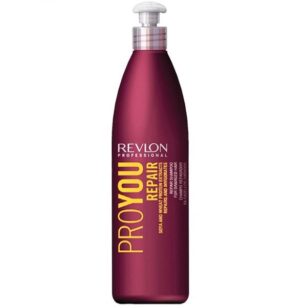 Revlon Professional Pro You Шампунь для волос восстанавливающий Repair Shampoo 350 млFS-00897Восстанавливающий шампунь для поврежденных волос Pro You Repair вернет Вашим волосам послушность и блеск, мягкость и силу! В состав шампуня входят питательные вещества и компоненты, оздоравливающие и укрепляющие Ваши волосы: Экстракт сои – стимулирует производство эластина и коллагена, обладает эффектом быстрого впитывания и ассимиляции. Ваши волосы становятся прочными и эластичными! Пшеничный белок –создает на поверхности волос защитный слой, восстанавливает кутикулу и препятствует обезвоживанию волос.