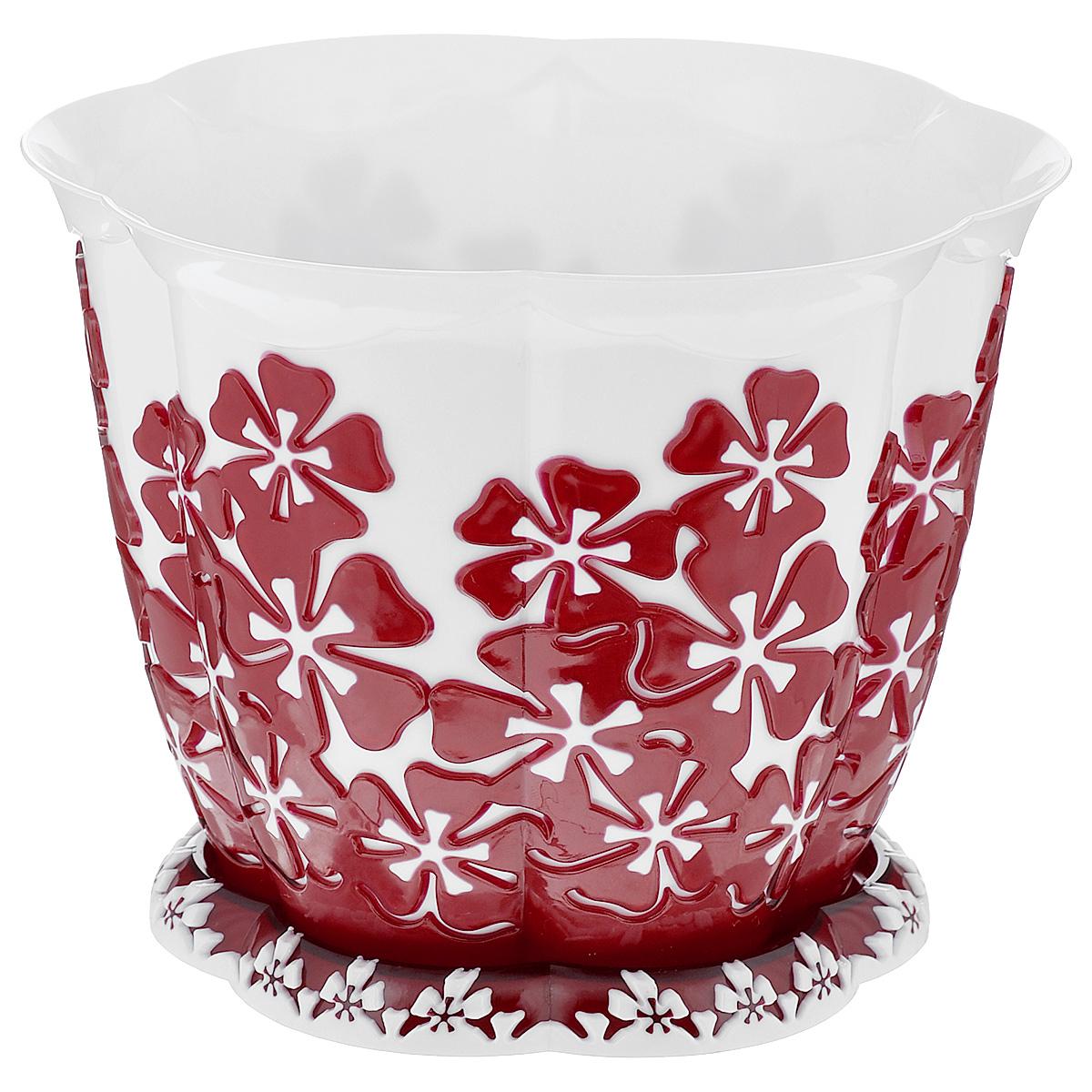Горшок цветочный Альтернатива Камелия, с поддоном, цвет: белый, красный, 3 лKOC_SOL249_G4Горшок для цветов Альтернатива Камелия представляет собой пластиковую емкость, декорированную объемным цветочным орнаментом. Изделие оснащено поддоном для стока жидкости. Горшок имеет стильный дизайн, поэтому прекрасно впишется в любой интерьер. Диаметр по верхнему краю: 20,5 см. Высота: 16 см.Объем горшка: 3 л.