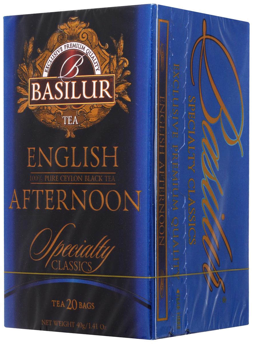Basilur English Afternoon черный чай в пакетиках, 20 штN050_набор 1Basilur English Afternoon - черный мелколистовой байховый чай в пакетиках с ярлычками для разовой заварки. Традиция английского чаепития возникла в 1840 году благодаря супруге 7-го герцога Бедфорда княгине Анне Марии. Этот сорт идеально подходит в качестве послеобеденного чая. Он имеет яркий цвет и бодрящий, освежающий вкус.