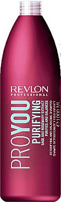 Revlon Professional Pro You Шампунь для волос очищающий Purifying Shampoo 1000 млFS-00897Шампунь от Revlon для очищения и восстановления жирового баланса кожи головы содержит экстрагированные компоненты розмарина и шалфея и рекомендован для жирных волос. Активные компоненты шампуня образуют на поверхности волос защитный слой, препятствующий потере объема, увеличивающий блеск и гладкость волос. Средство обладает мягким, очищающим и успокаивающим действием по отношению к раздраженной или чувствительной коже и интенсивно питает и увлажняет фибру.