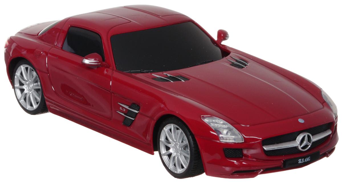 """Радиоуправляемая модель Welly """"Mercedes-Benz SLS AMG"""" обязательно привлечет внимание взрослого и ребенка и понравится любому, кто увлекается автомобилями. Маневренная и реалистичная уменьшенная копия """"Mercedes-Benz SLS AMG"""" выполнена в точной детализации с настоящим автомобилем в масштабе 1/24. Управление машинкой происходит с помощью пульта. Автомобиль двигается вперед и назад, поворачивает направо и налево. Радиус действия пульта - 8 метров. Колеса игрушки прорезинены и обеспечивают плавный ход, машинка не портит напольное покрытие. Радиоуправляемые игрушки способствуют развитию координации движений, моторики и ловкости. Ваш ребенок часами будет играть с моделью, придумывая различные истории и устраивая соревнования. Порадуйте его таким замечательным подарком! Питание: для работы машинки - 3 батарейки напряжением 1,5V типа АА; для работы пульта - 2 батарейки напряжением 1,5V типа АА (не входят в комплект)."""