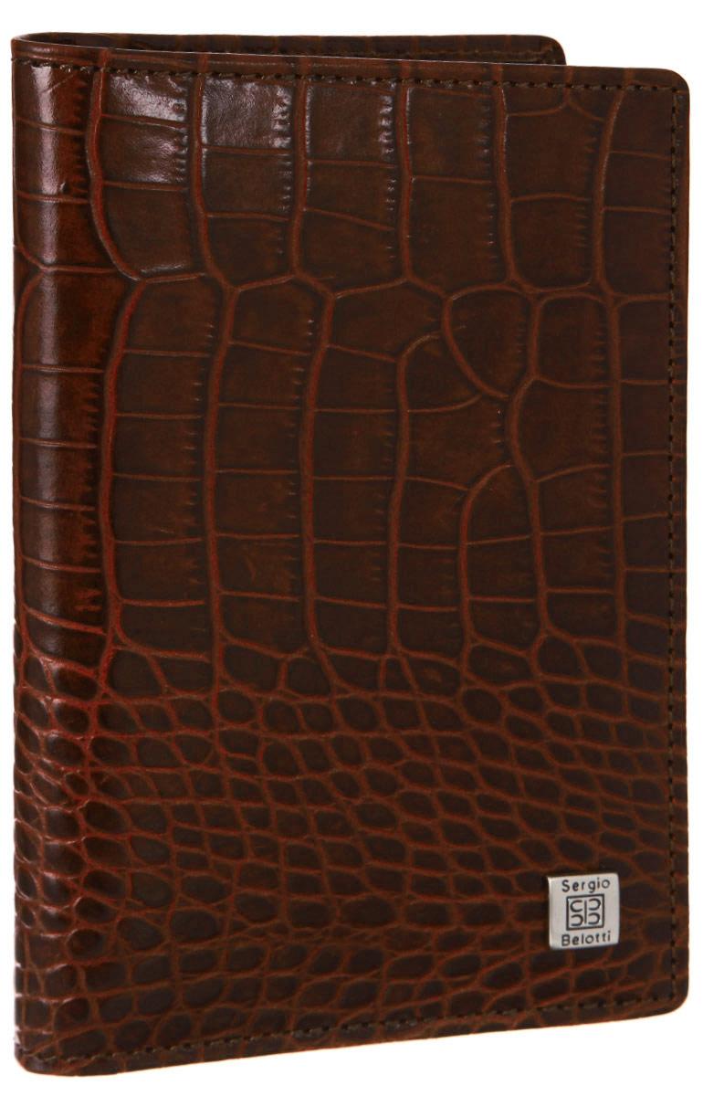 Обложка для автодокументов Sergio Belotti, цвет: коричневый. 1423CA-3505Обложка для автодокументов Sergio Belotti выполнена из натуральной кожи с тиснением под рептилию и оформлена металлической фурнитурой с символикой бренда.Изделие раскладывается пополам. Внутри размещены два накладных кармана, один из которых сетчатый, а также вкладыш, состоящий из шести пластиковых файлов для документов, один из которых формата А5.Изделие поставляется в фирменной упаковке.Стильная обложка для автодокументов Sergio Belotti станет отличным подарком для человека, ценящего качественные и практичные вещи.