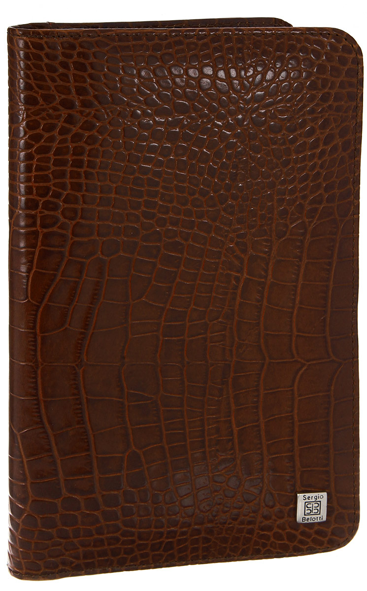 Визитница вертикальная Sergio Belotti, цвет: коричневый. 1308INT-06501Стильная вертикальная визитница Sergio Belotti выполнена из натуральной кожи с тиснением под рептилию. Изделие оформлено металлической фурнитурой с символикой бренда.Визитница раскладывается пополам. Внутри изделие содержит съемный блок, состоящий из 12 файлов (вмещают 36 визиток), а также два накладных кармана и два угловых кармана. Изделие поставляется в фирменной упаковке.Визитница Sergio Belotti станет отличным подарком для человека, ценящего качественные и практичные вещи.
