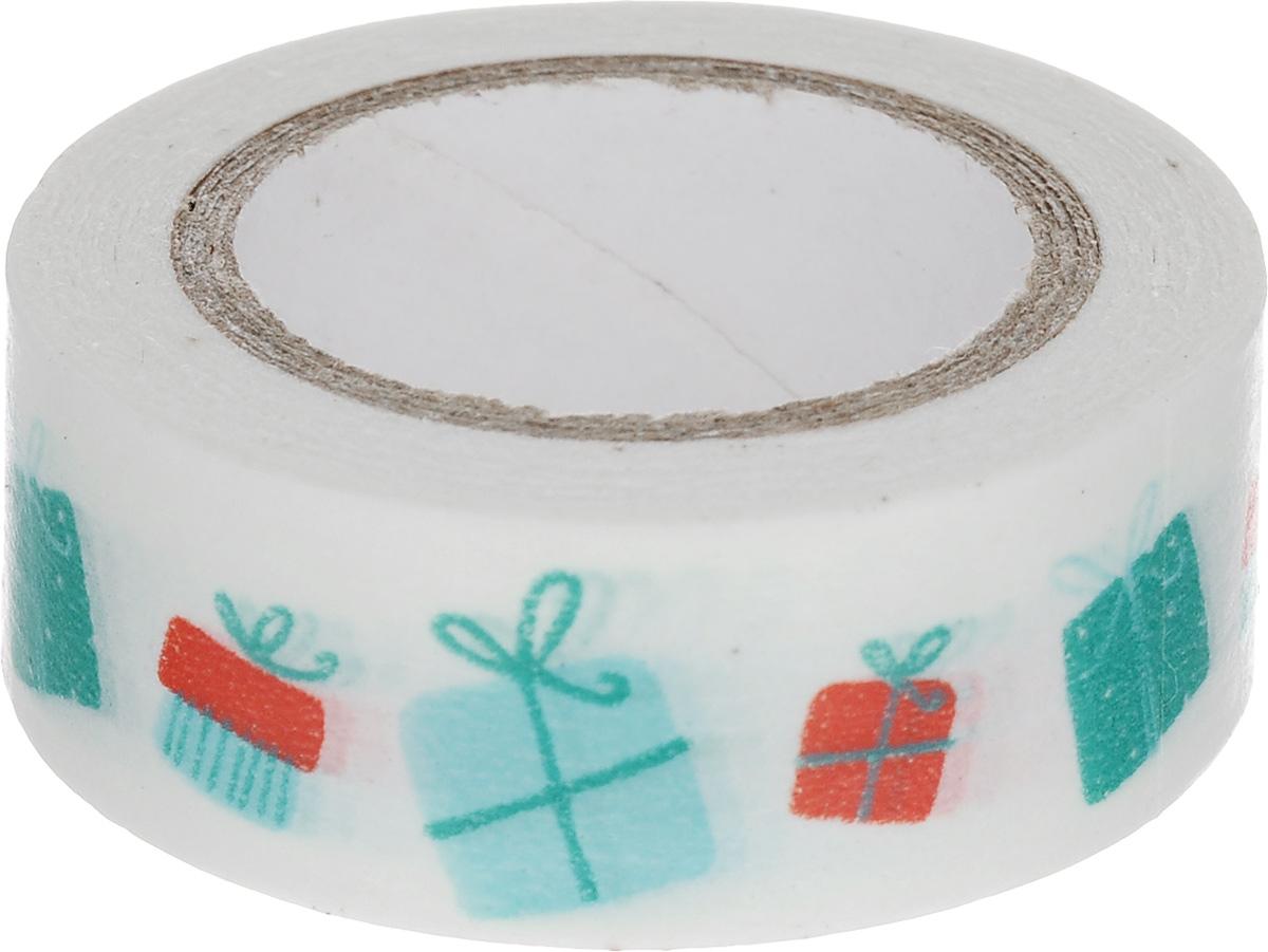 Скотч декоративный ScrapBerrys Подарки, 1,5 х 800 смNN-612-LS-PLДекоративный скотч ScrapBerrys Подарки выполнен из плотной бумаги с оригинальным рисунком. Такой скотч прекрасно подойдет для декора и оформления творческих работ в технике скрапбукинг или флористика, а также для изготовления бантиков, украшения подарочных коробок, открыток и многого другого.Яркий дизайнерский скотч разнообразит вашу работу и добавит вдохновения для новых идей. Ширина скотча: 1,5 см. Длина скотча: 8 м.