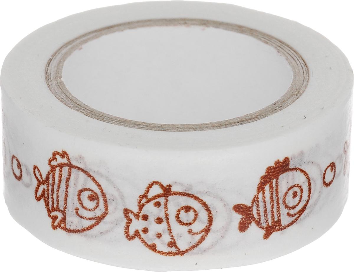 Скотч декоративный ScrapBerrys Рыбки-2, 1,5 х 800 см7714661Декоративный скотч ScrapBerrys Рыбки-2 выполнен из плотной бумаги с оригинальным рисунком. Такой скотч прекрасно подойдет для декора и оформления творческих работ в технике скрапбукинг или флористика, а также для изготовления бантиков, украшения подарочных коробок, открыток и многого другого.Яркий дизайнерский скотч разнообразит вашу работу и добавит вдохновения для новых идей. Ширина скотча: 1,5 см. Длина скотча: 8 м.
