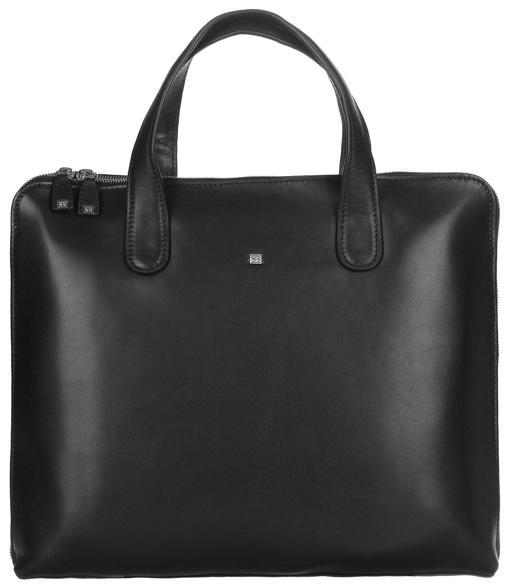 Бизнес-сумка мужская Sergio Belotti, цвет: черный. 9846-36S76245Бизнес-сумка мужская Sergio Belotti выполнена из натуральной кожи и оформлена металлической фурнитурой с символикой бренда.Изделие закрывается на металлическую застежку-молнию. Сумка состоит из одного вместительного отделения, внутри которого имеются прорезной карман на застежке молнии, два накладных кармана, один из которых сетчатый, карман-средник на молнии. Внешняя стенка среднего кармана дополнена кармашком для телефона, двумя фиксаторами для ручек и четырьмя кармашками для кредитных карт. Накладные карманы фиксируются хлястиком на липучку. В задней стенке изделия расположен продольный прорезной карман, также закрывающийся на застежку-молнию.Сумка имеет две практичные ручки для переноски.Стильная бизнес-сумка станет практичным аксессуаром, который идеально дополнит ваш образ.