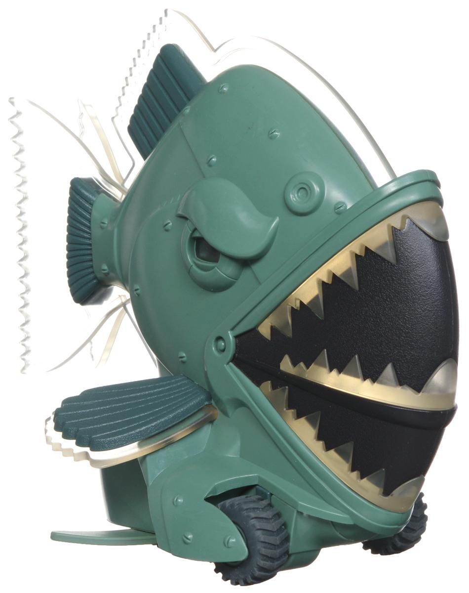 """Радиоуправляемая модель """"Illumivor: Пиранья"""" выполнена из безопасного пластика, имеет подвижные челюсть и хвост и оснащена световыми и звуковыми эффектами. Во время движения у пираньи светятся челюсти, она начинает покачивать хвостом, при этом слышится реалистичный звук хруста костей. Инновационная система управления обеспечивает стабильные движения по плоскости и позволяет совершать крутые повороты и развороты. В набор входят игрушка в виде пираньи, пульт управления и инструкция на русском языке. Необходимо докупить 1 батарейку типа 6F22 9V для пираньи и 4 батарейки типа ААА напряжением 1,5V для пульта управления (не входят в комплект). Длина пираньи: 18 см"""