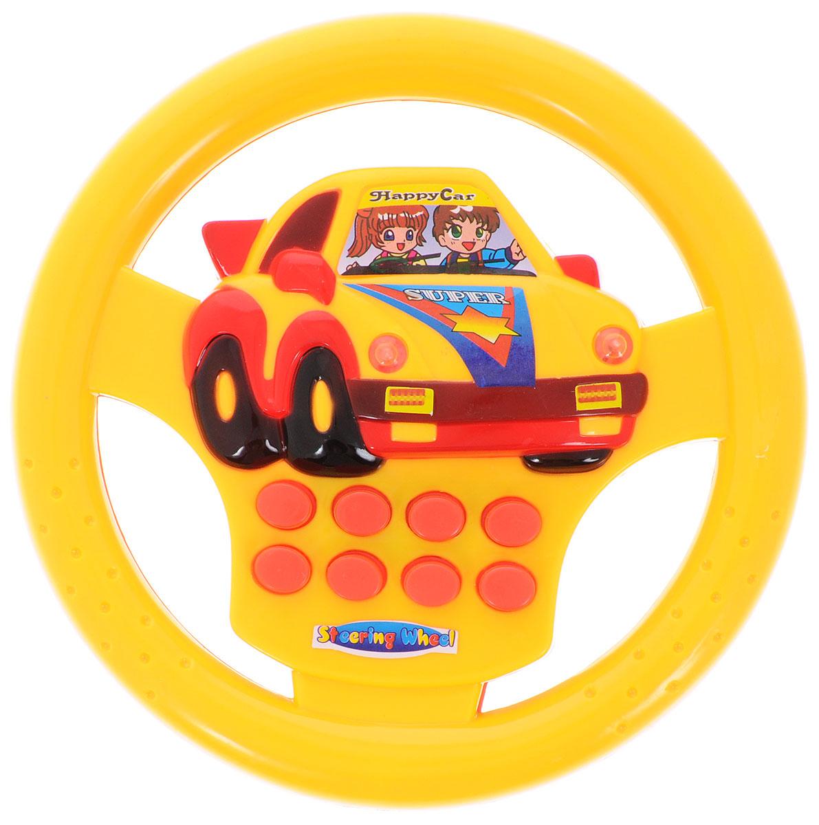 """Развивающая игрушка """"Руль"""" со световыми и звуковыми эффектами надолго займет внимание вашего ребенка. Она выполнена из безопасного пластика в виде руля автомобиля и оснащена световыми и звуковыми эффектами. На руле расположены 8 кнопок, которые активирует различные световые и звуковые эффекты, такие как клаксон, шум мотора и т.д.. Развивающая игрушка способствует развитию цветового и звукового восприятия, внимания, воображения, сообразительности, памяти, координации движений и мелкой моторики рук. Для работы требуются 2 батарейки типа АА (не входят в комплект)."""