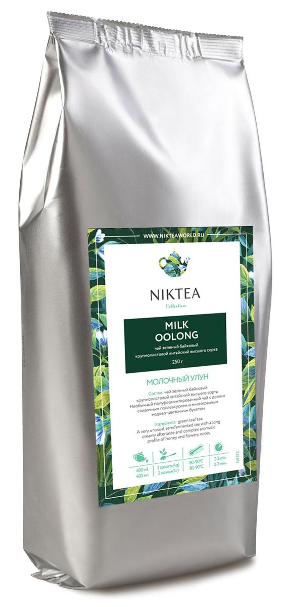 Niktea Milk Oolong зеленый листовой чай, 250 г0120710Niktea Milk Oolong - необычный полуферментированный зеленый листовой чай с долгим сливочным послевкусием и многогранным медово-цветочным букетом.NikTea следует правилу качество чая - это отражение качества жизни и гарантирует:Тщательно подобранные рецептуры в коллекции топовых позиций-бестселлеров.Контролируемое производство и сертификацию по международным стандартам.Закупку сырья у надежных поставщиков в главных чаеводческих районах, а также в основных центрах тимэйкерской традиции - Германии и Голландии.Постоянство качества по строго утвержденным стандартам.NikTea - это два вида фасовки - линейки листового и пакетированного чая в удобной технологичной и информативной упаковке. Чай обладает многофункциональным вкусоароматическим профилем и подходит для любого типа кухни, при этом постоянно осуществляет оптимизацию базовой коллекции в соответствии с новыми тенденциями чайного рынка.Листовая коллекция NikTea представлена в герметичной фольгированной упаковке, которая эффективно предохраняет чай от воздействия света, влаги и посторонних запахов, обеспечивая длительное хранение. Каждая упаковка снабжена этикеткой с подробным описанием чая, его состава, а также способа заваривания.