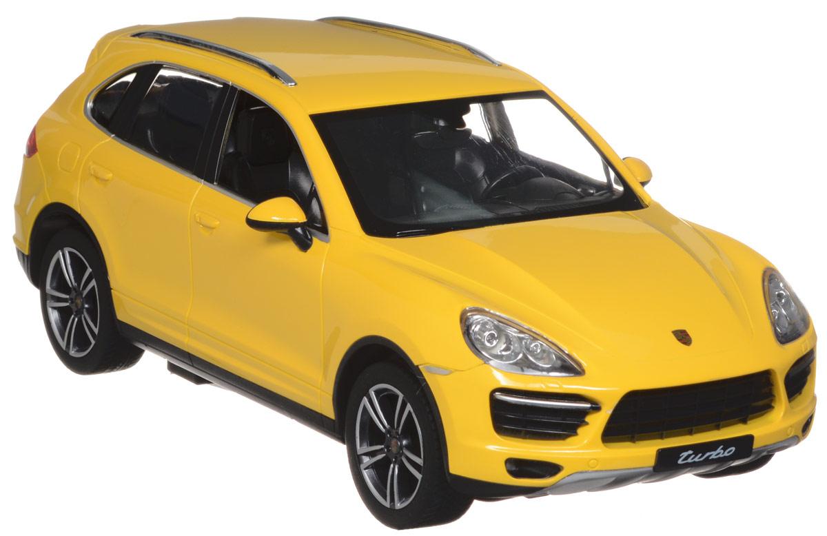 """Радиоуправляемая модель Rastar """"Porsche Cayenne Turbo"""" обязательно привлечет внимание взрослого и ребенка и понравится любому, кто увлекается автомобилями. Все дети хотят иметь в наборе своих игрушек ослепительные, невероятные и крутые автомобили на радиоуправлении. Тем более если это автомобиль известной марки с проработкой всех деталей, удивляющий приятным качеством и видом. Маневренная и реалистичная уменьшенная копия """"Porsche Cayenne Turbo"""" выполнена в точной детализации с настоящим автомобилем в масштабе 1:14. Управление машинкой происходит с помощью удобного пульта. Автомобиль двигается вперед и назад, поворачивает направо и налево. Автомобиль изготовлен из пластика с металлическими элементами. Колеса игрушки прорезинены и обеспечивают плавный ход, машинка не портит напольное покрытие. Радиоуправляемые игрушки способствуют развитию координации движений, моторики и ловкости. Ваш ребенок часами будет играть с моделью, придумывая различные истории и устраивая..."""