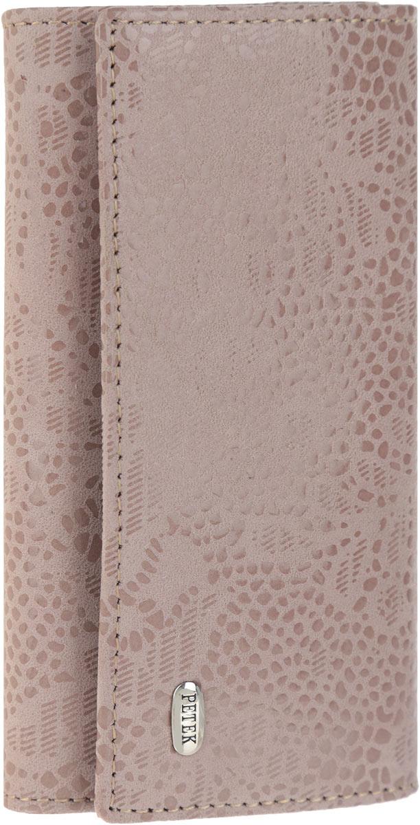 Ключница женская Petek 1855, цвет: серо-розовый. 518.109.3939864 Серьги с подвескамиСтильная женская ключница Petek 1855 выполнена из натуральной кожи с лазерной обработкой и цветочным принтом и оформлена металлической пластиной с гравировкой бренда. Изделие закрывается на клапан с двумя кнопками. Внутри находится шесть металлических крючков для ключей, прорезной карман на застежке-молнии и боковой карман. Ключница упакована в фирменную коробку.Этот аксессуар станет замечательным подарком человеку, ценящему качественные и практичные вещи.