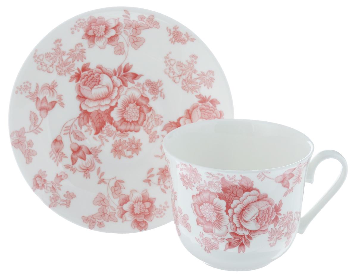 Чайная пара Roy Kirkham Викторианская роза, цвет: розовый, белый, 2 предмета115510Чайная пара Roy Kirkham Викторианская роза состоит из чашки и блюдца, изготовленных из тонкостенного костяного фарфора высшего качества, отличающегося необыкновенной прочностью и небольшим весом. Изделия оформлены цветочным рисунком. Яркий дизайн, несомненно, придется вам по вкусу.Чайная пара Roy Kirkham Викторианская роза украсит ваш кухонный стол, а также станет замечательным подарком к любому празднику.Объем чашки: 500 мл.Диаметр чашки по верхнему краю: 10,5 см.Высота чашки: 8,5 см.Диаметр блюдца: 17 см.Высота блюдца: 2,5 см.