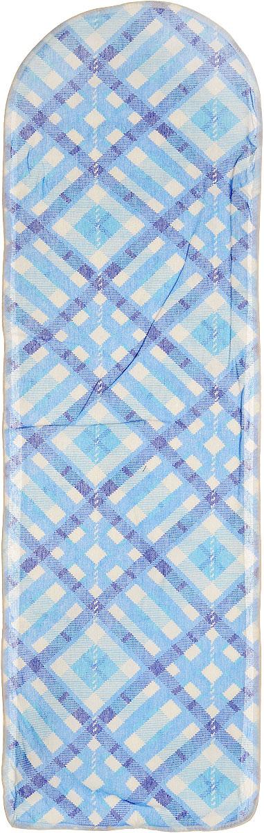 Чехол для гладильной доски Eva, цвет: синий, голубой, белый, 120 х 38 смGC013/00Хлопчатобумажный чехол Eva для гладильной доски с поролоновым слоем продлит срок службы вашей гладильной доски. Чехол снабжен стягивающим шнуром, при помощи которого вы легко отрегулируете оптимальное натяжение чехла и зафиксируете его на рабочей поверхности гладильной доски.При выборе чехла учитывайте, что его размер должен быть больше размера покрытия доски минимум на 5 см. Рекомендуется заменять чехол не реже 1 раза в 3 года. Размер чехла: 120 см х 38 см. Максимальный размер доски: 112 см х 32 см.