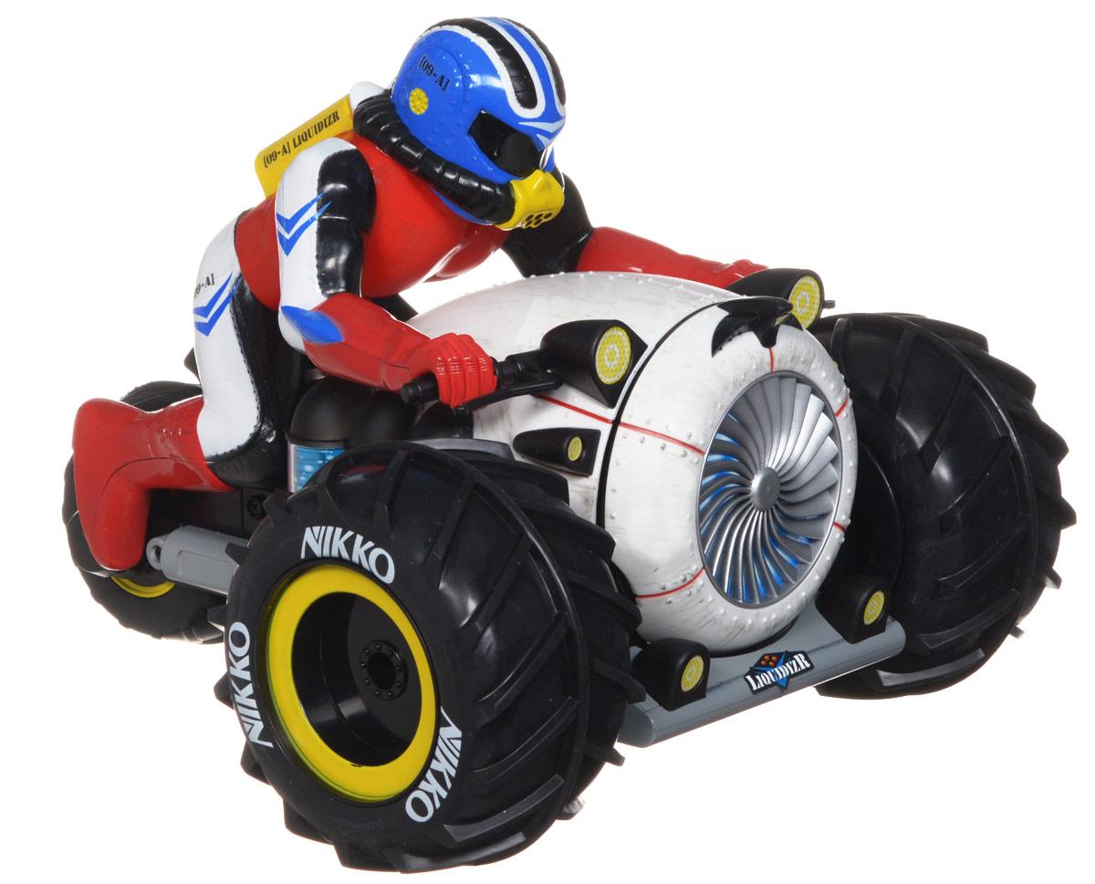 """Трицикл с гонщиком на радиоуправлении """"Liquidizr"""" обязательно привлечет внимание взрослого и ребенка и понравится любому, кто увлекается автомобилями и мотоциклами. Яркая оригинальна игрушка трицикл-амфибия, имеет уникальную проходимость, он может плавать на воде и ездить по снегу, песку и грязи, при опрокидывании сам встает на колеса. Но нельзя полностью погружать под воду! Моделью легко управлять и любая гонка принесет удовольствие. Управление игрушкой происходит с помощью удобного пульта. Трицикл двигается вперед и назад, поворачивает направо и налево. Трицикл изготовлен из пластика с металлическими элементами. Колеса игрушки прорезинены, они обеспечивают плавный ход и не портят напольное покрытие. Радиоуправляемые игрушки способствуют развитию координации движений, моторики и ловкости. Ваш ребенок часами будет играть с моделью, придумывая различные истории и устраивая соревнования. Порадуйте его таким замечательным подарком! Игрушка работает..."""