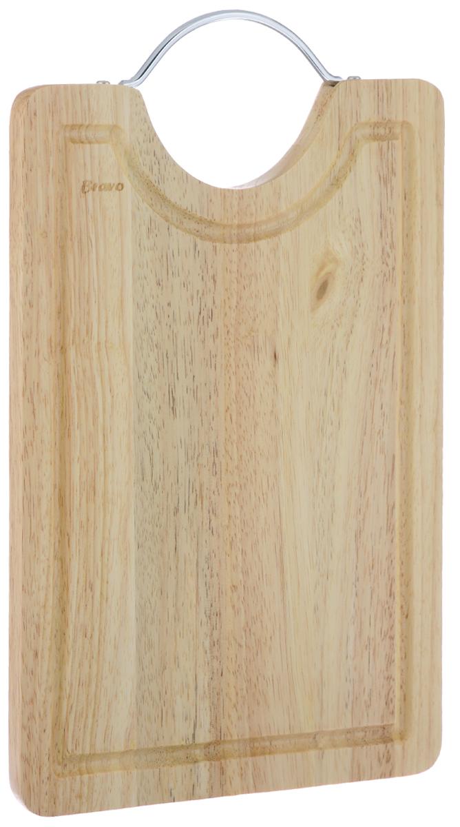 Доска разделочная Bravo, с ручкой, 36,5 см х 23 см bravo кисточка силиконовая с бамбуковой ручкой