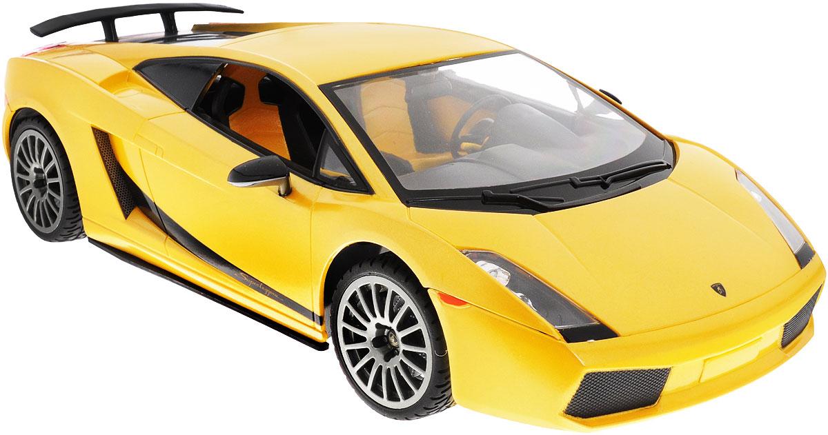 """Радиоуправляемая модель Rastar """"Lamborghini Superleggera"""", выполненная из прочного пластика с металлическими элементами, является точной уменьшенной копией настоящего автомобиля в масштабе 1:14. Модель привлечет внимание не только ребенка, но и взрослого. Модель при помощи пульта управления движется вперед, дает задний ход, поворачивает влево и вправо, останавливается. Машина обладает высокой стабильностью движения, что позволяет полностью контролировать его процесс, управляя уверенно и без суеты. Модель оснащена световыми эффектами. Такая модель автомобиля станет отличным подарком не только автолюбителю, но и человеку, ценящему оригинальность и изысканность, а качество исполнения представит такой подарок в самом лучшем свете. Машина работает от 5 батареек типа АА напряжением 1,5V, пульт работает от батарейки 9V типа """"Крона"""" (не входят в комплект)."""